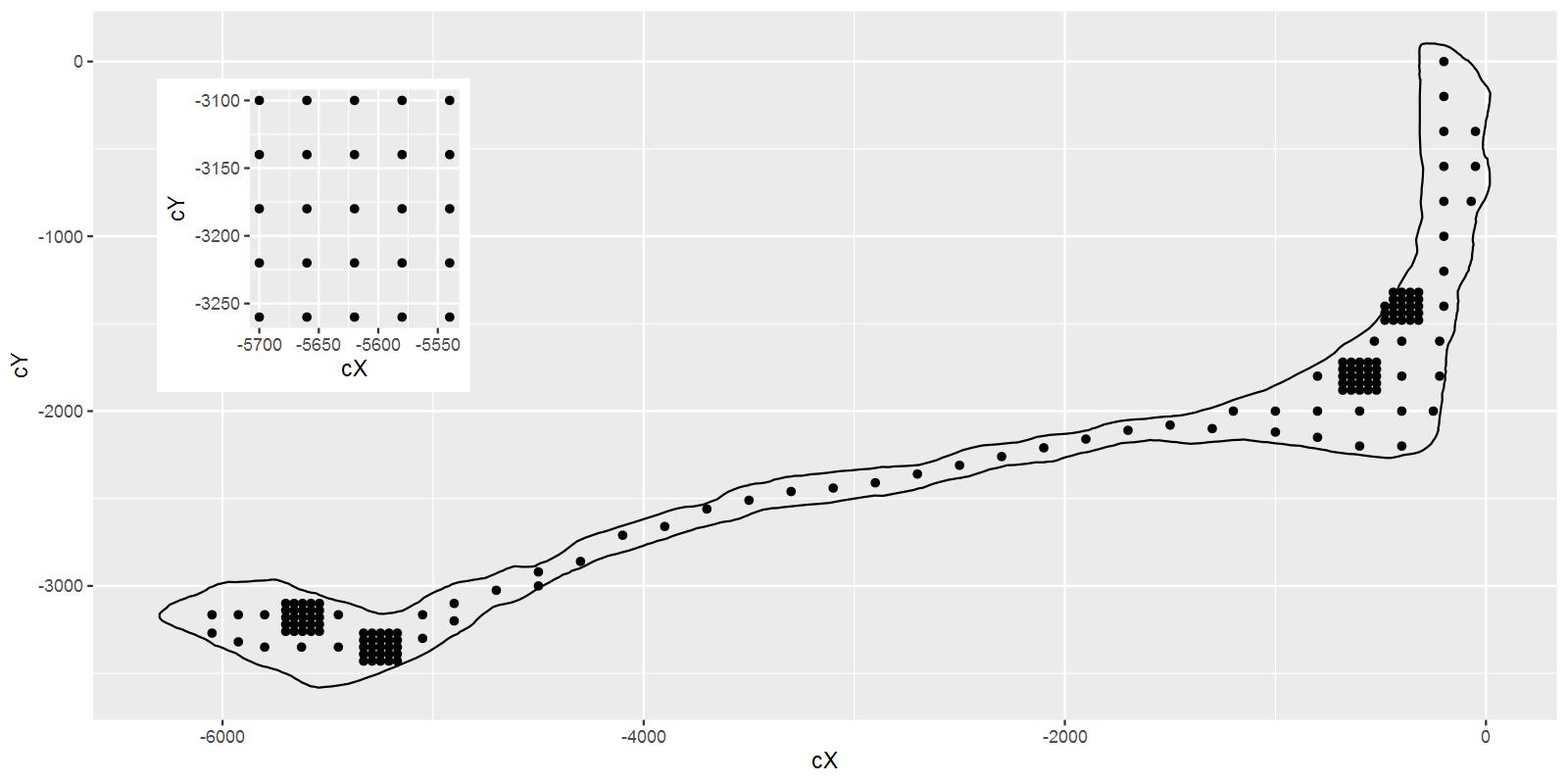 朗格拉普岛上测量核污染浓度的站点分布图