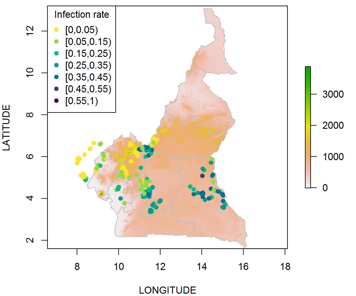 喀麦隆及其周边地区村庄感染的比例